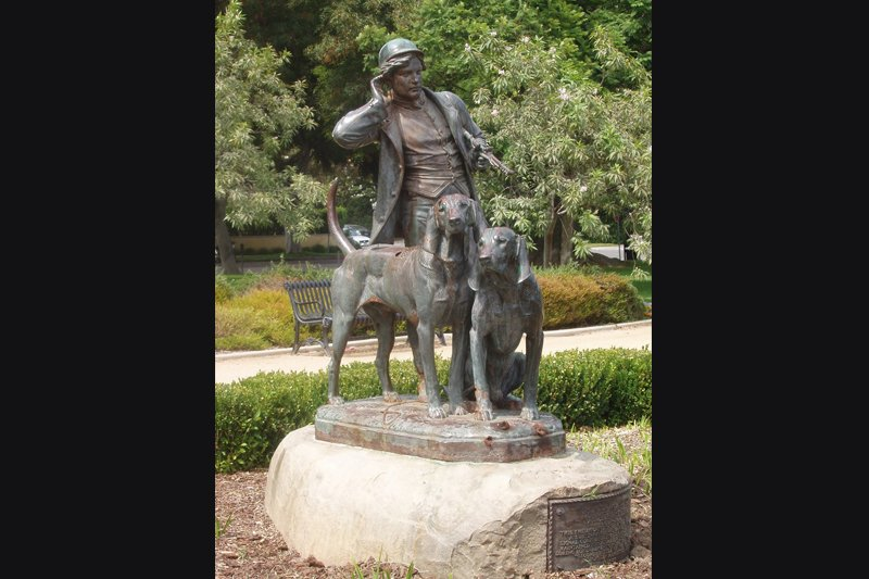 """Hunter and Hounds"" Famous statue in Beverly Hills Park is KCBH logo and insignia."